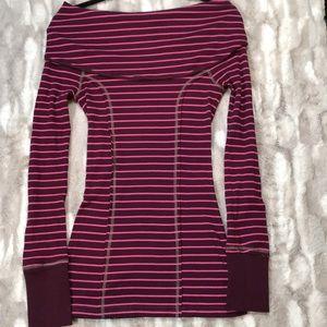 Free people burgundy striped longsleeve shirt L